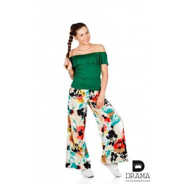 Широк панталон на цветя DRAMA