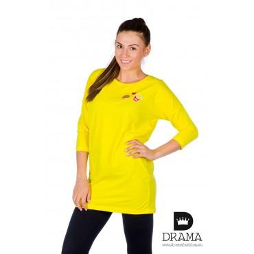 Рокля / туника с бродирана щампа DRAMA - жълта