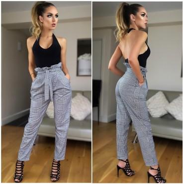 Кариран панталон с колан