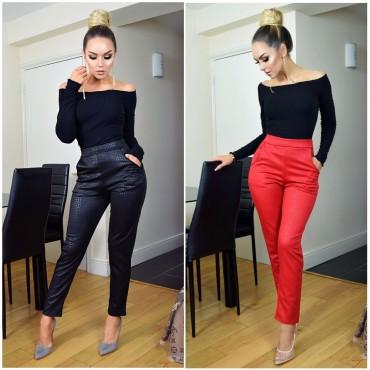 Панталон с принт - черен, червен
