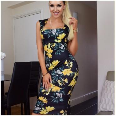 Права рокля на жълти цветя