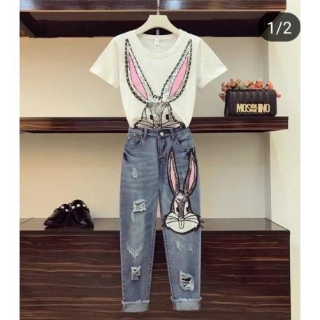 Комплект тениска и дънки с пайети