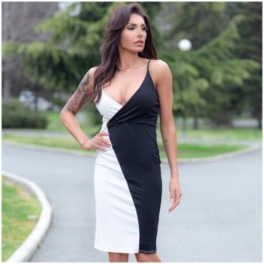 Двуцветна рокля - черно и бяло