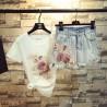 Комплект тениска и къси дънкови панталони с декорация