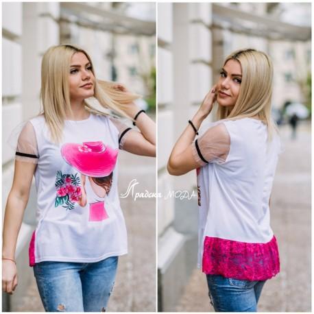 Тениска Pink с дантела и тюл