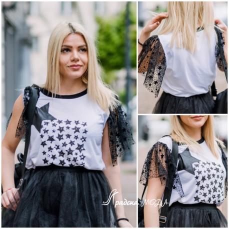 Тениска Stars с тюл