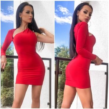 Секси права рокля с един ръкав - червена
