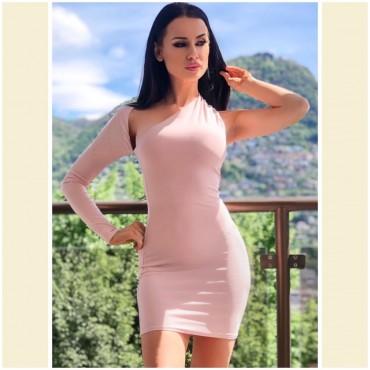 Секси права рокля с един ръкав