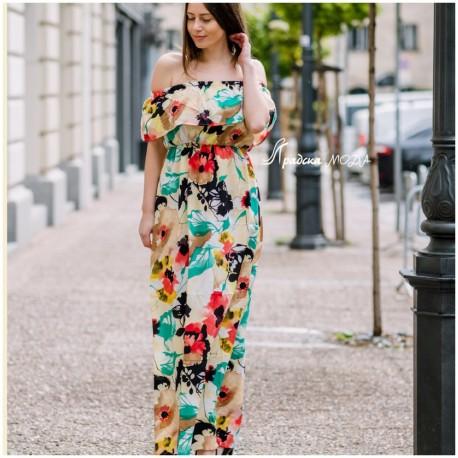 Дълга рокля на цветя с къдри