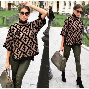 Плетена блуза / пончо с поло яка