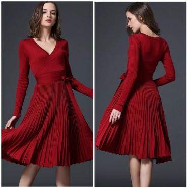 Плетена рокля солей - бордо