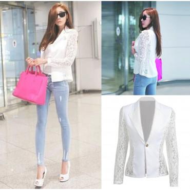 Бяло сако с дантела