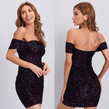 Парти рокля с блестящи виолетови пайети