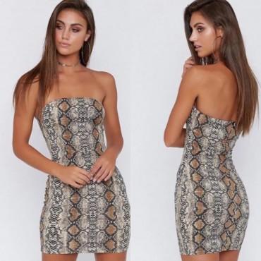 Къса лятна рокля с животински принт