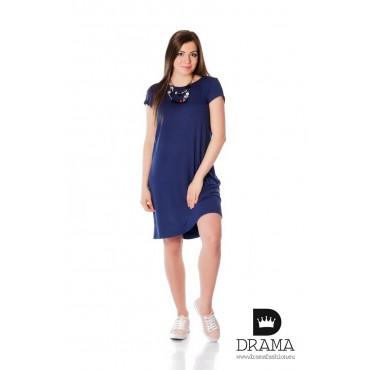 Свободна рокля DRAMA с панделки - едноцветна